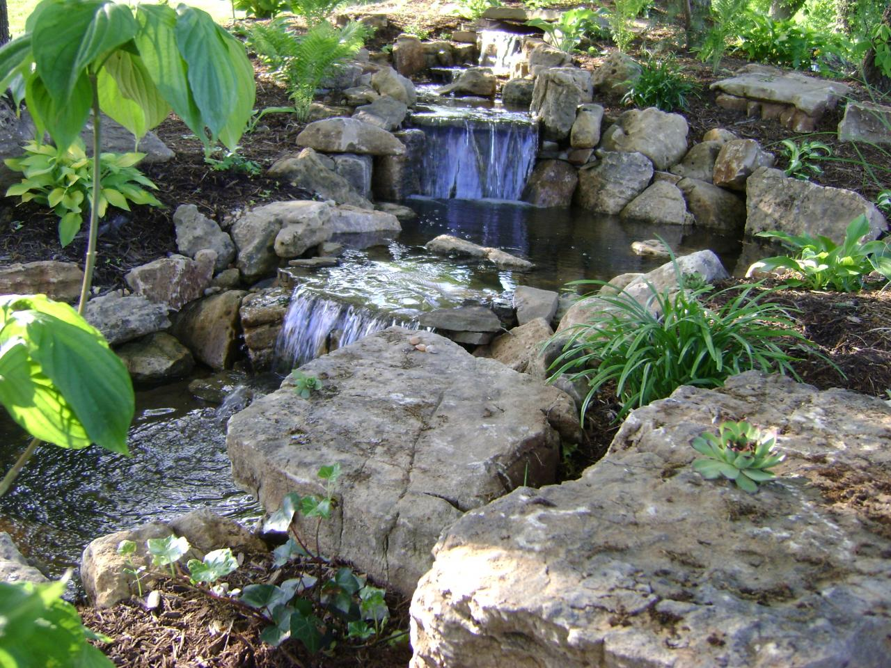 Weilbacher landscaping retaining walls paver for Pond waterfall