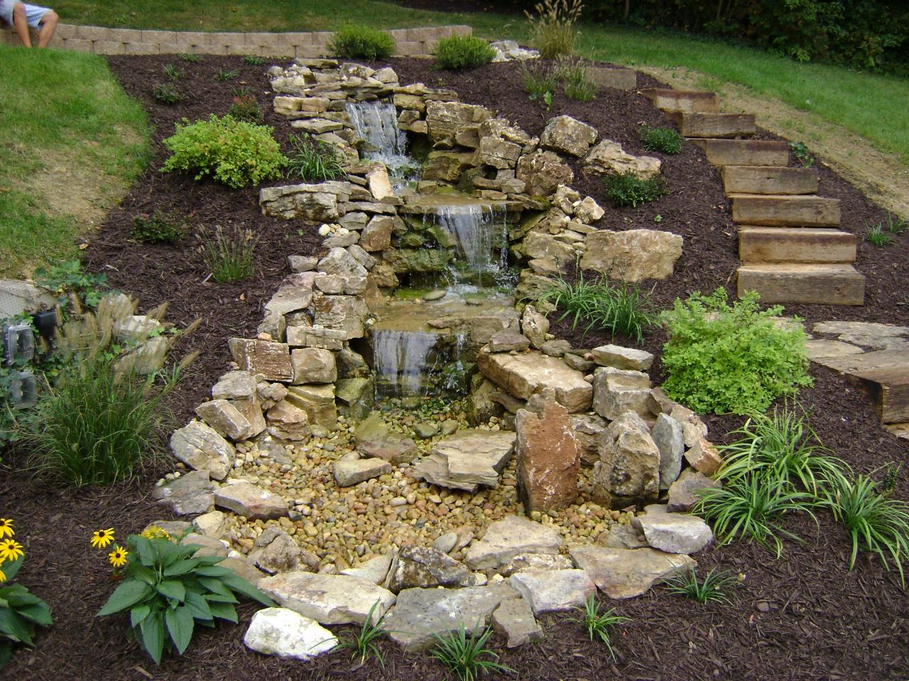 Weilbacher landscaping retaining walls paver for Tiered pond waterfall