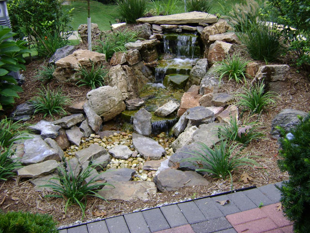 Weilbacher landscaping retaining walls paver for Stone garden waterfall